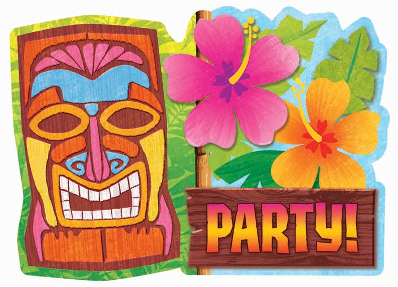 Hawaiian party background invitations. Tiki clipart luau invitation