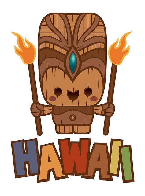 Kawaii fire i ll. Tiki clipart person hawaiian