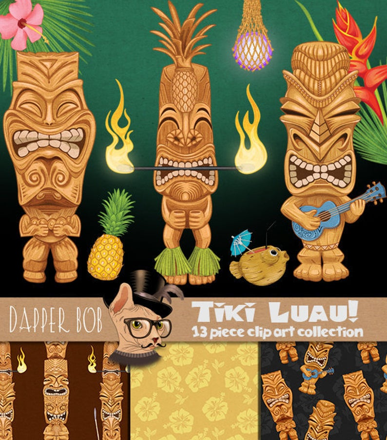 Tiki clipart themed. Statue luau party clip