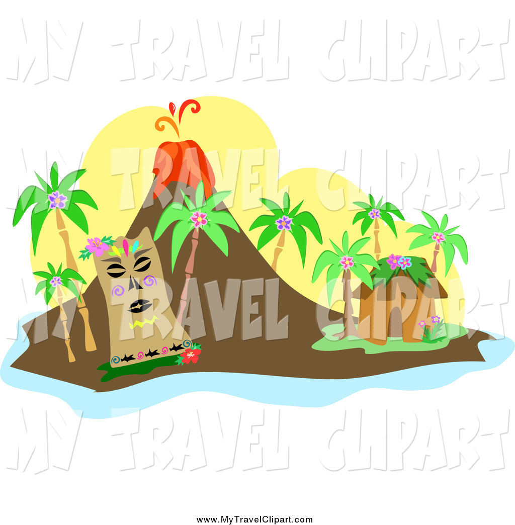 Tiki clipart volcano. Of a near hut