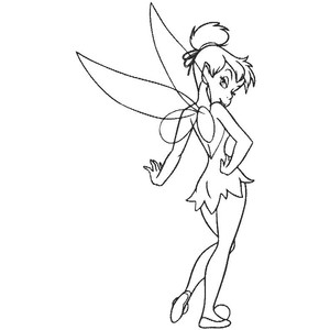 Black and white . Tinkerbell clipart line drawing