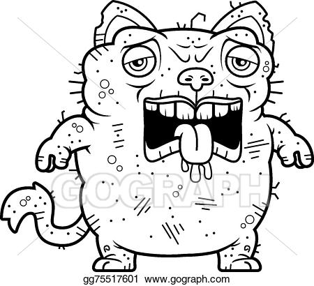 Tired clipart. Vector art ugly cat