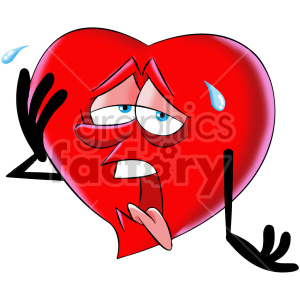 Cartoon heart exhausted character. Tired clipart exhausting