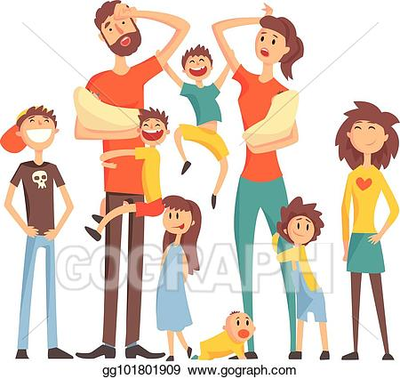 Eps vector happy caucasian. Tired clipart family