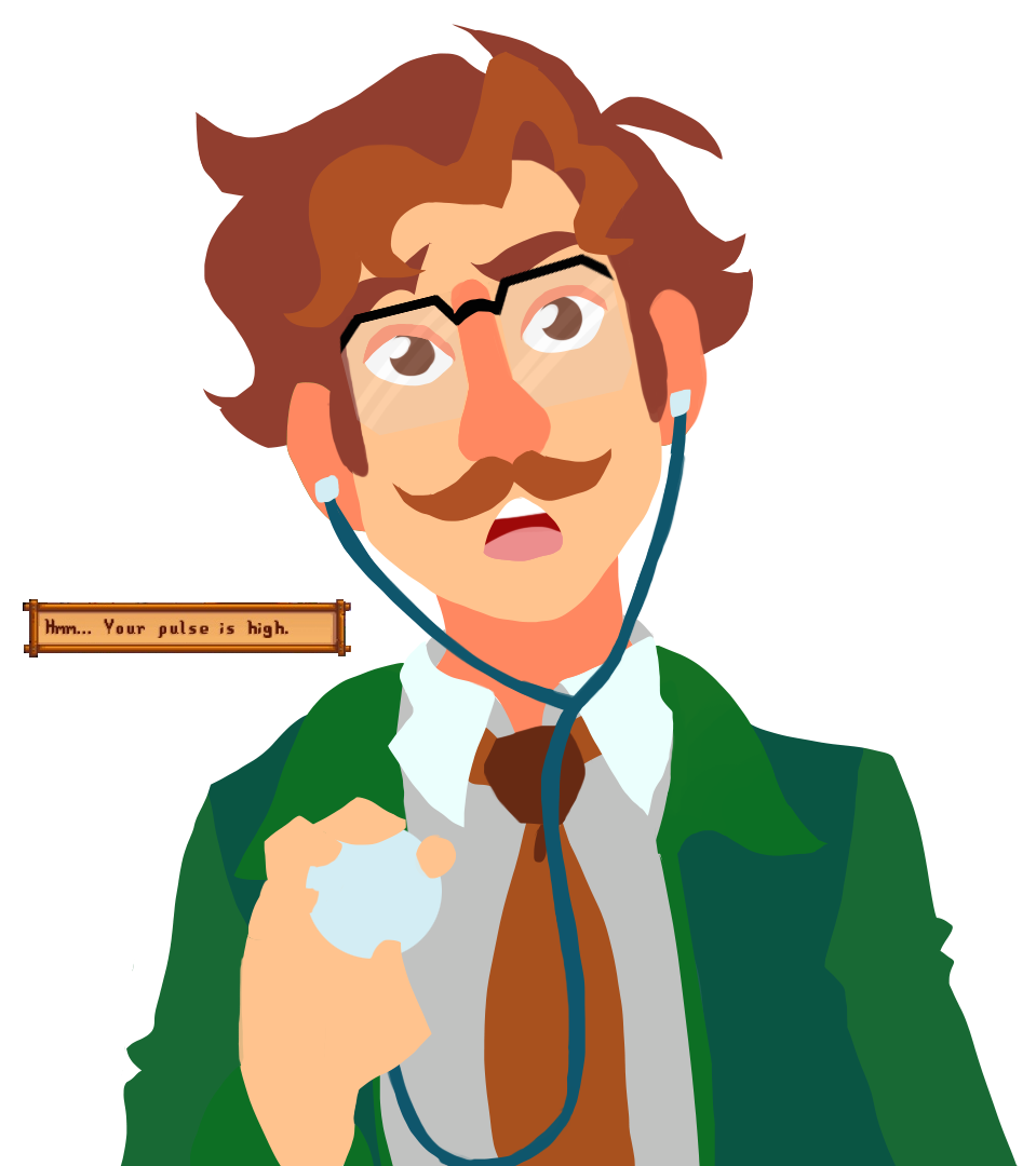 Harvey from stardew valley. Tired clipart farmer