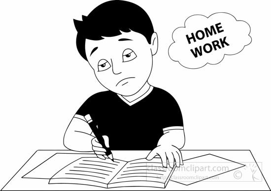 Tired clipart homework. School black white boy
