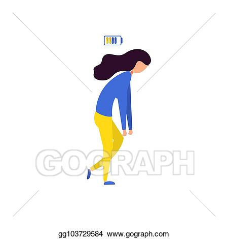 Tired clipart sad. Vector art worker woman