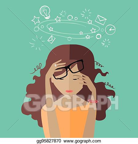 Vector art woman at. Tired clipart to do