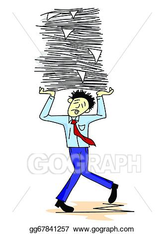 Vector illustration man carrying. Tired clipart work