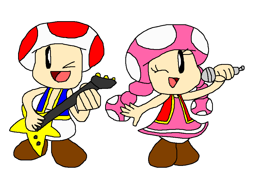 Rocken with and toadette. Toad clipart boy