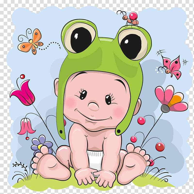Baby wearing frog critter. Toad clipart boy