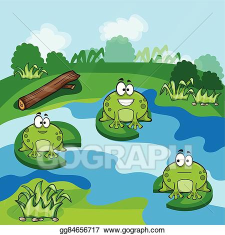 Toad clipart frog pond. Vector little frogs in