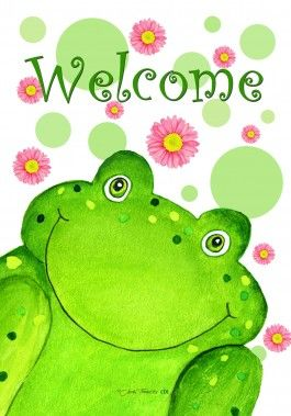 Welcome frog house flag. Toad clipart spring
