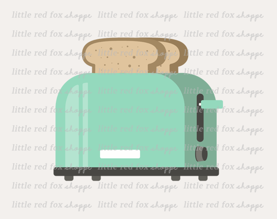 Toaster clipart. By little red fox