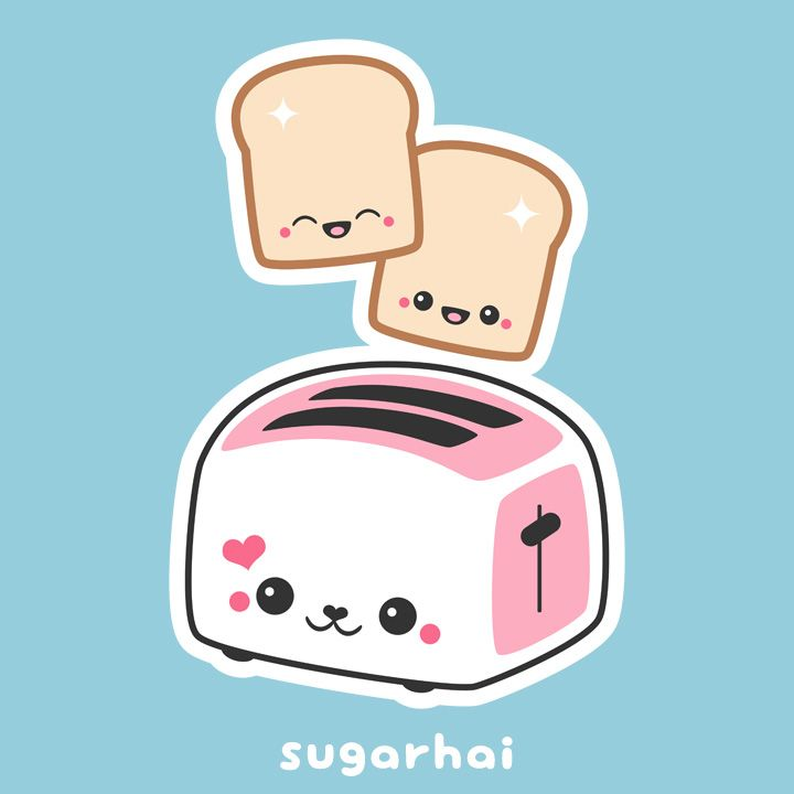 Super kawaii pink with. Toaster clipart cute