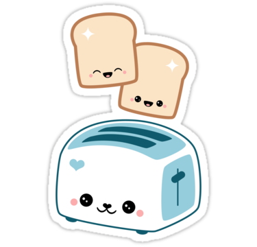 Happy flying toast twins. Toaster clipart cute