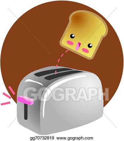 Toaster clipart cute. Vector breakfast jumping toast