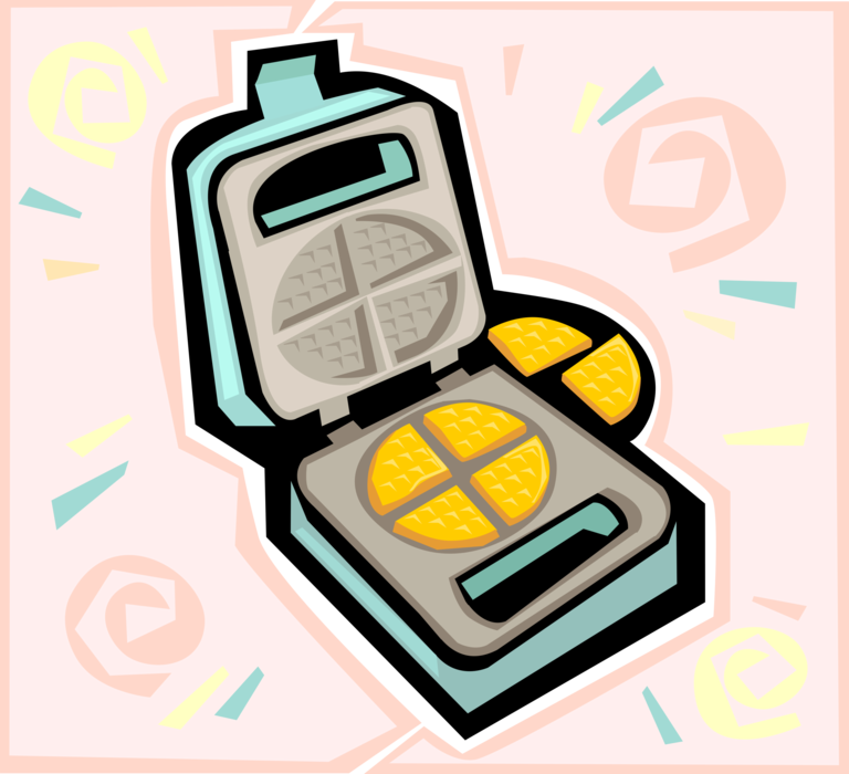 Waffle clipart toaster. Kitchen iron vector image