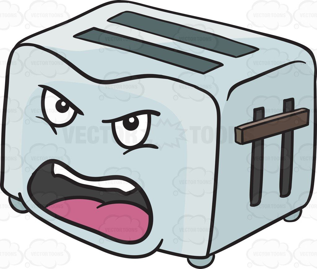 Toaster clipart small appliance. Angry and screaming pop
