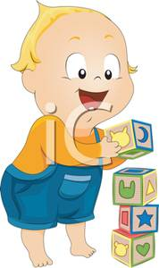A stacking building blocks. Toddler clipart
