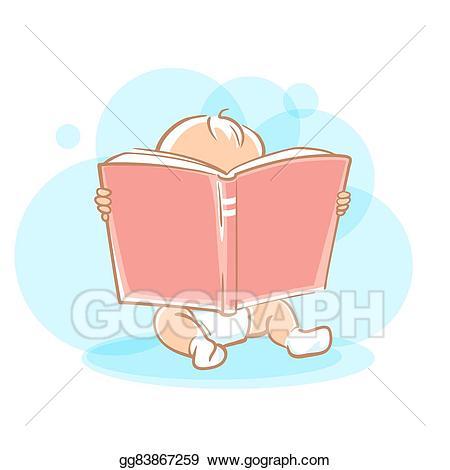 Clip art vector cute. Toddler clipart baby reading book