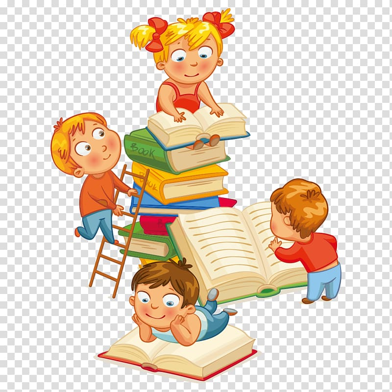 Toddler clipart baby reading book. Four children books library
