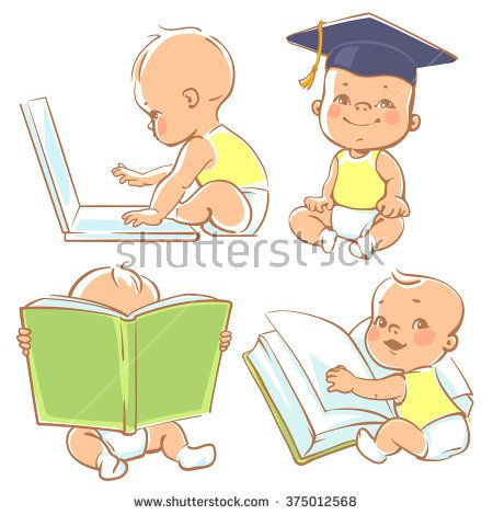 Toddler clipart baby reading book. Set with cute babies