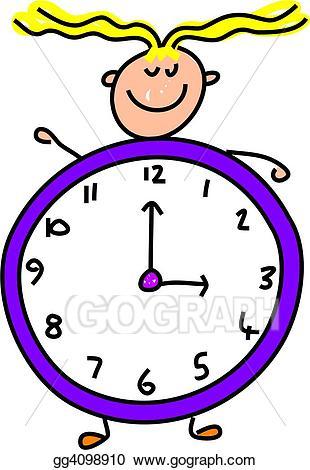 Stock illustration kid drawing. Toddler clipart clock