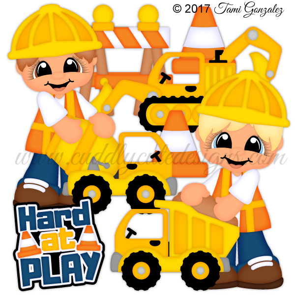 Hard at cuddly cute. Toddler clipart construction play
