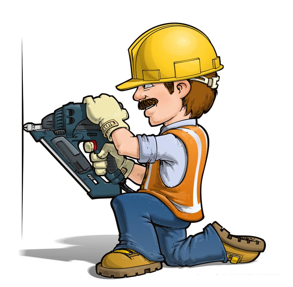 Cartoon handyman stock illustration. Toddler clipart construction play