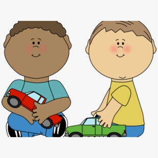Playing kids sharing kid. Toddler clipart share toy