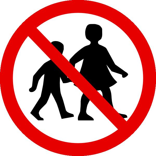 No children sign clip. Toddler clipart symbol