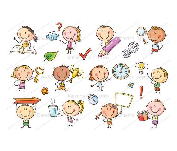 Kids with symbols images. Toddler clipart symbol