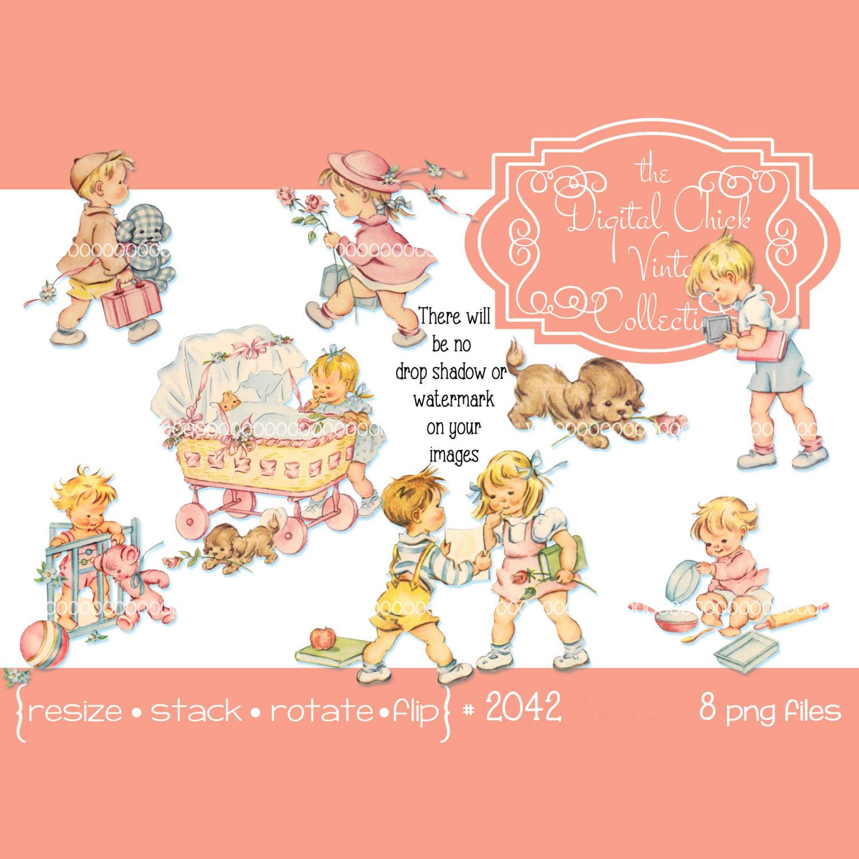 Vintage little girl boy. Toddler clipart toodler