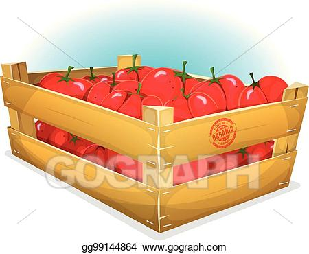 Vector art crate with. Tomatoes clipart box