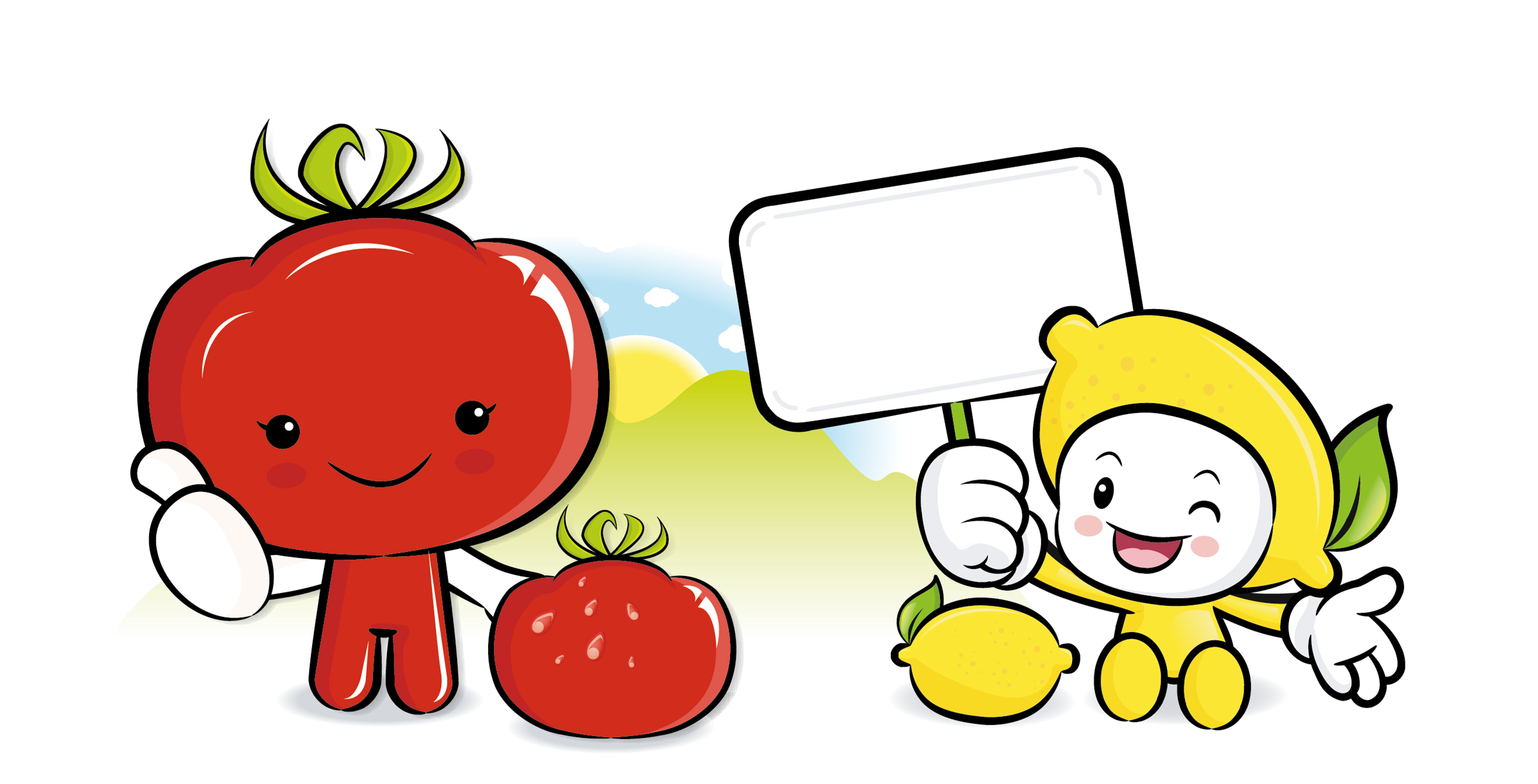 Tomatoes clipart happy tomato. Cartoon illustration lemon material