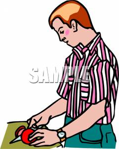 Tomatoes clipart person. A man cutting up