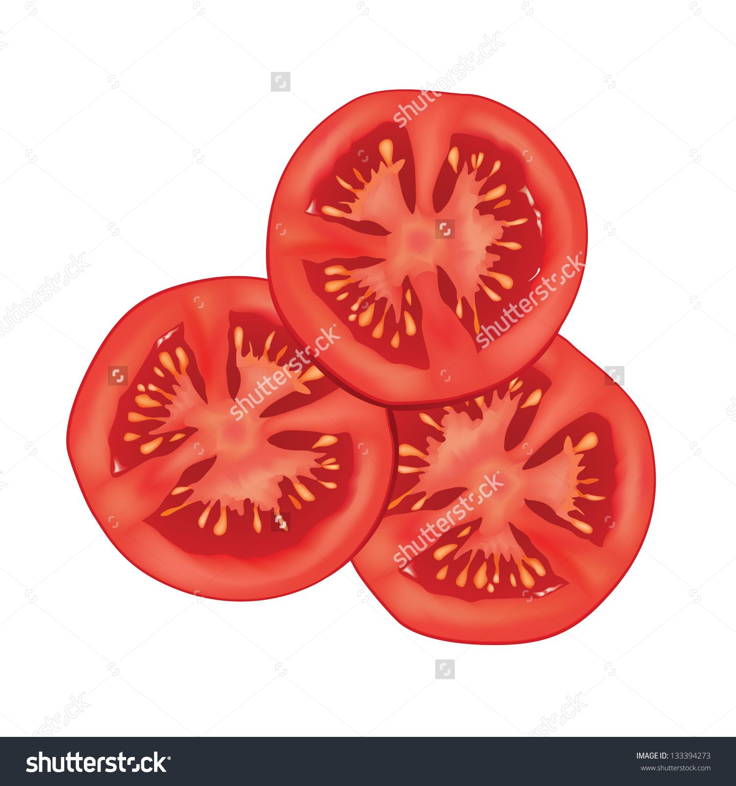 Tomatoes clipart sliced tomato. Isolated over white background