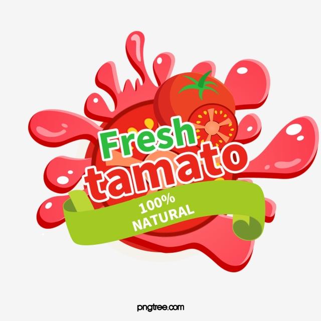 Cartoon hand drawn tomato. Tomatoes clipart splattered