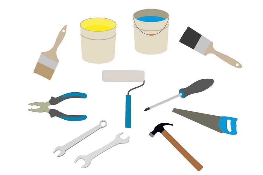 Tools set . Tool clipart building tool
