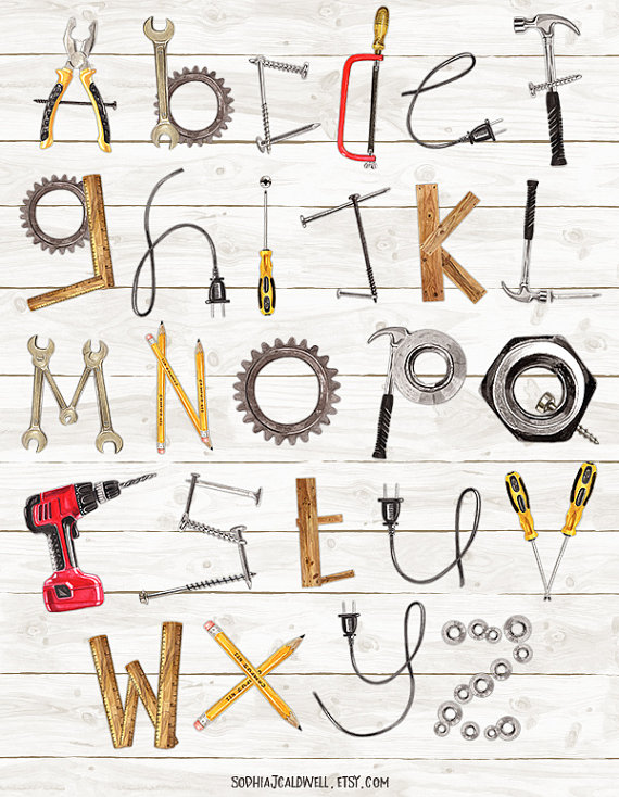 Alphabet watercolor letters . Tool clipart name