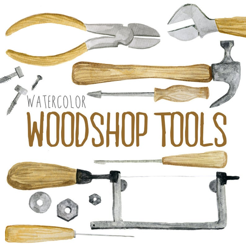 Watercolor woodshop tools woodworking. Tool clipart shop tool