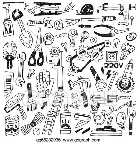 Tool clipart work tool. Vector tools doodles illustration