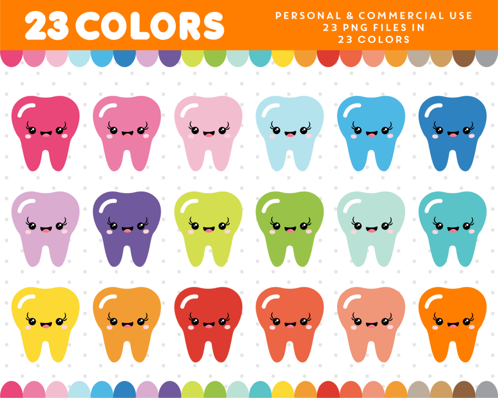 Kawaii in colors cl. Tooth clipart colorful