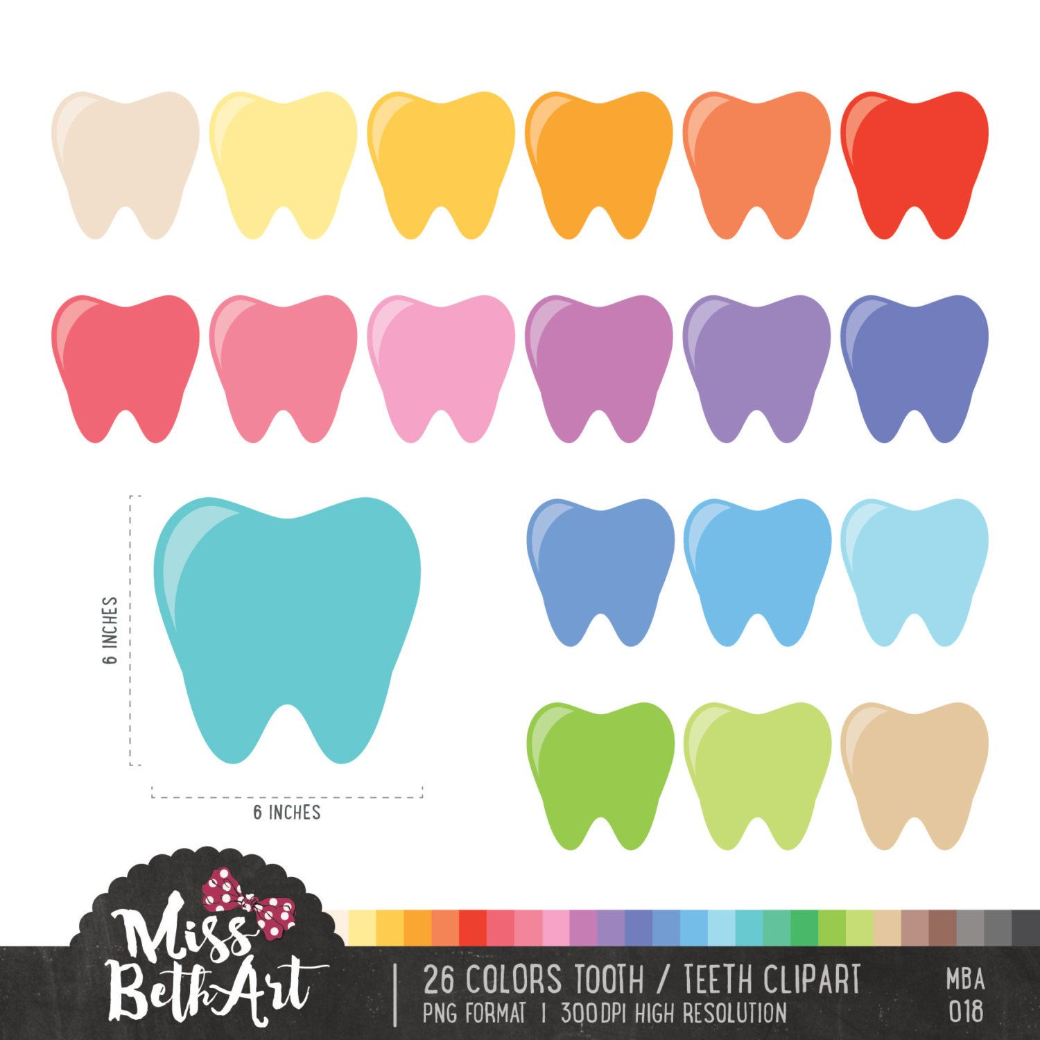 Tooth clipart colorful.  colors teeth instant