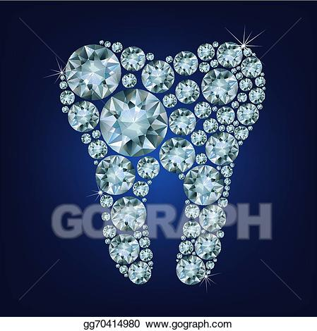 Vector stock made up. Tooth clipart diamond