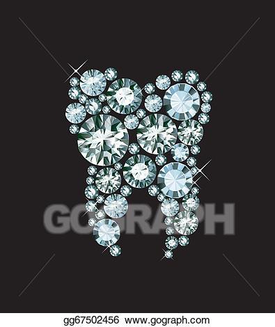 Vector illustration . Tooth clipart diamond