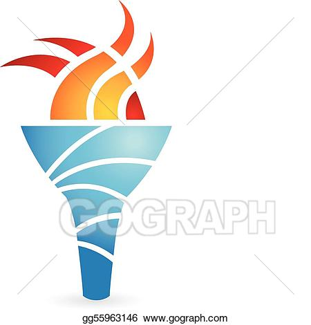 Torch clipart ancient. Eps illustration vector