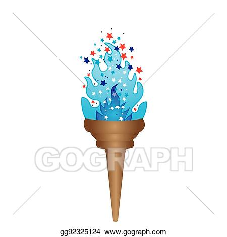 Torch clipart blue torch. Vector illustration olympic with