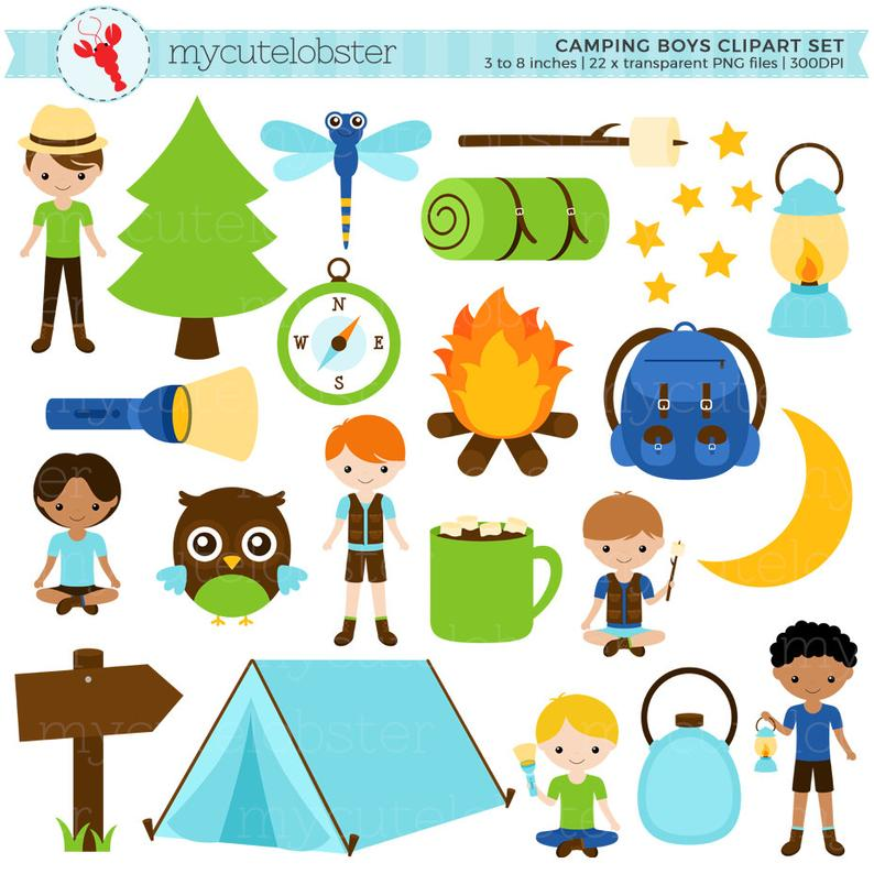 Boys set tent stars. Torch clipart camping